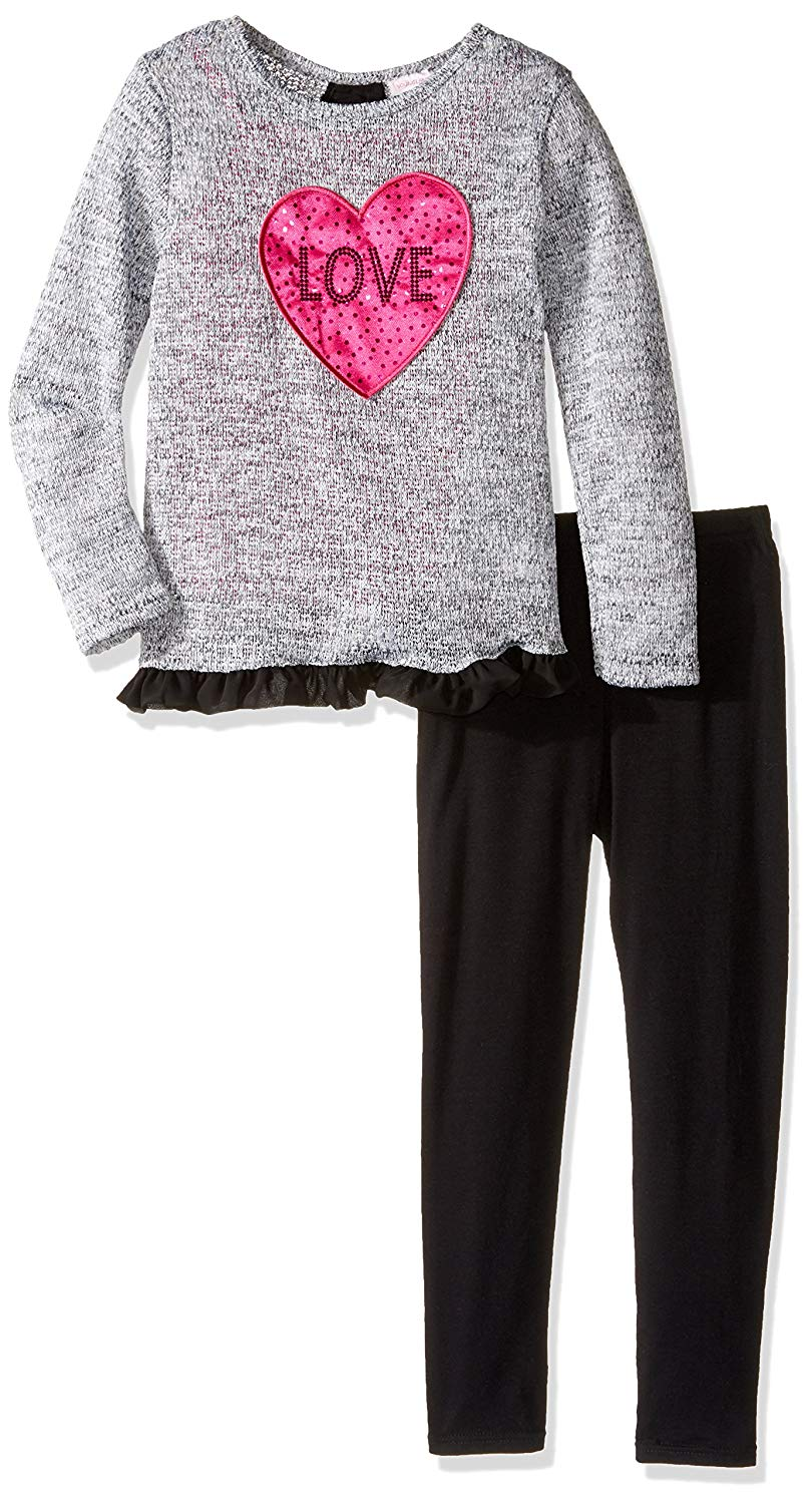 Youngland Girls' Grey Sweater Knit Love Tunic with Ruffled Trim and Black Knit Leggings
