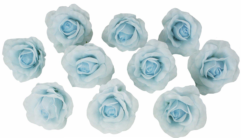 Buy 10 Light Blue Rose Heads Silk Flower Weddingreception Table