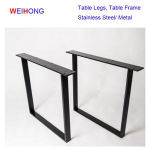 U Shape Unique Style Furniture Wood Table Black Desk Frame Stainless Steel  Table Legs