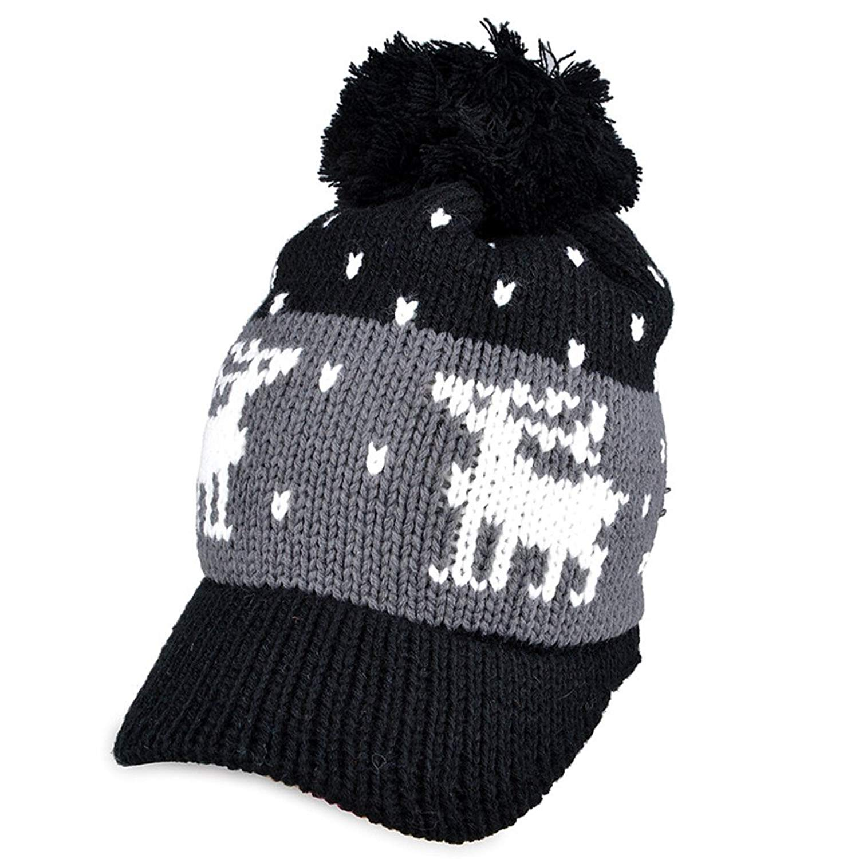 c2be1ebc099 Get Quotations · LOCOMO Women Girl Reindeer Pattern Knit Hat Brim Cap Winter  Warm FFH074BEI Beige