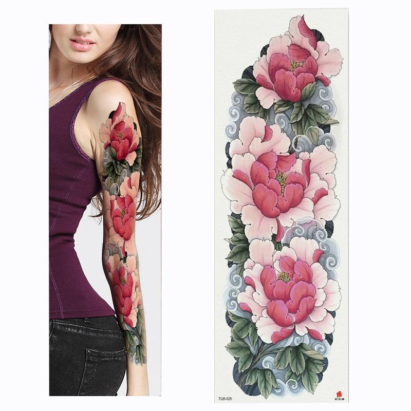 Free Shipping Large Arm sleeve Tattoo Waterproof temporary tattoo Sticker Skull Angel rose lotus Men Full Flower Tatoo Body Art