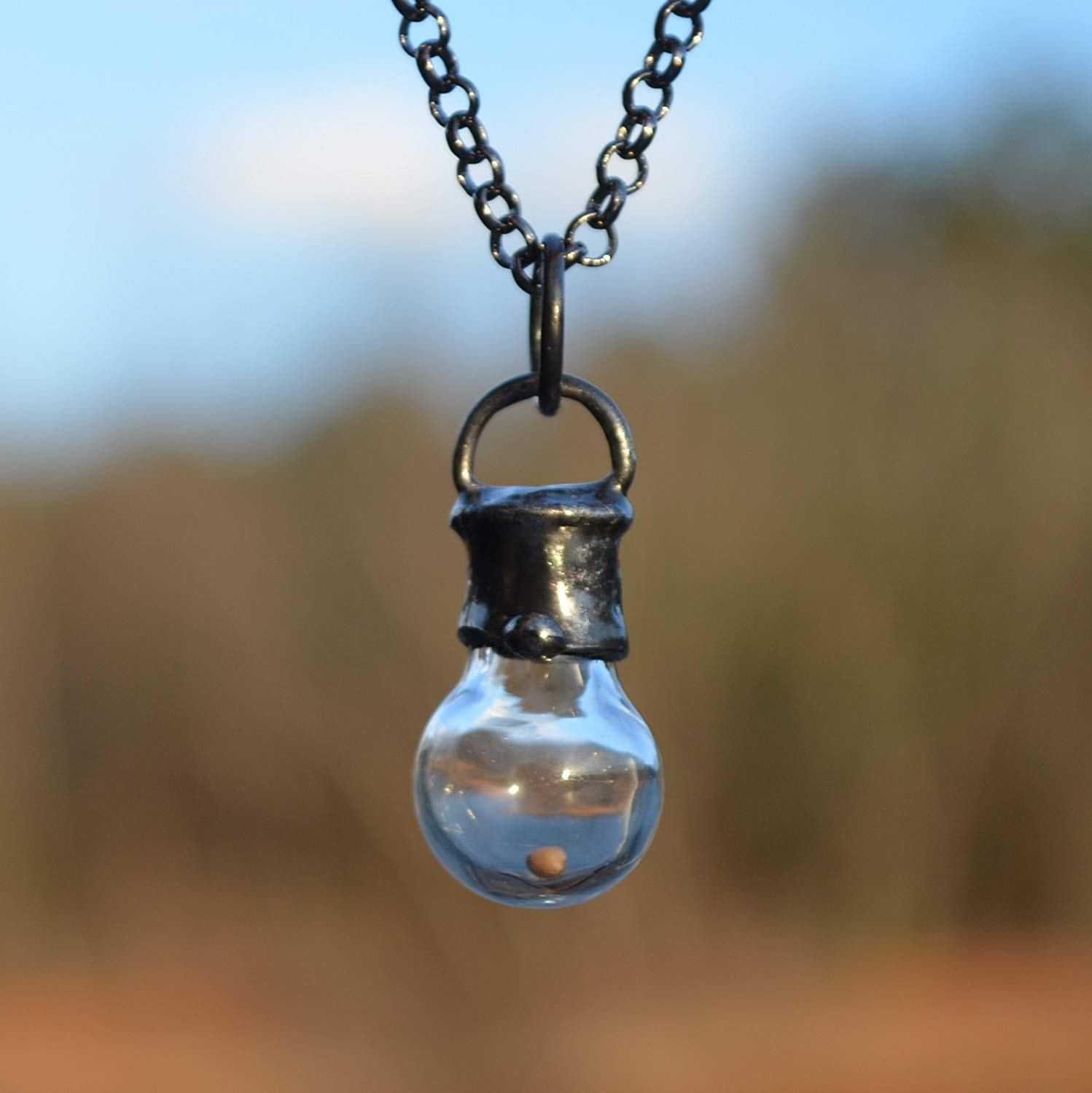 Faith of a Mustard Seed Necklace, Handmade in USA, Christian Gifts, Hand Blown Glass Bottle 2705m