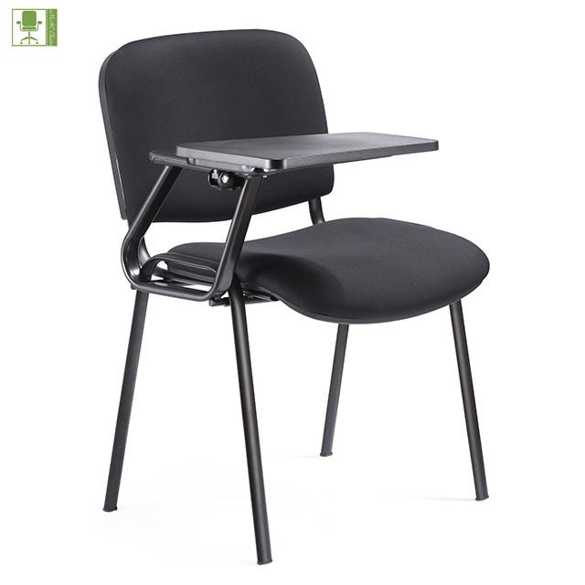 Conferencia tela apilable estudiante silla con tableta de escritura/aula silla con cojín de escritura
