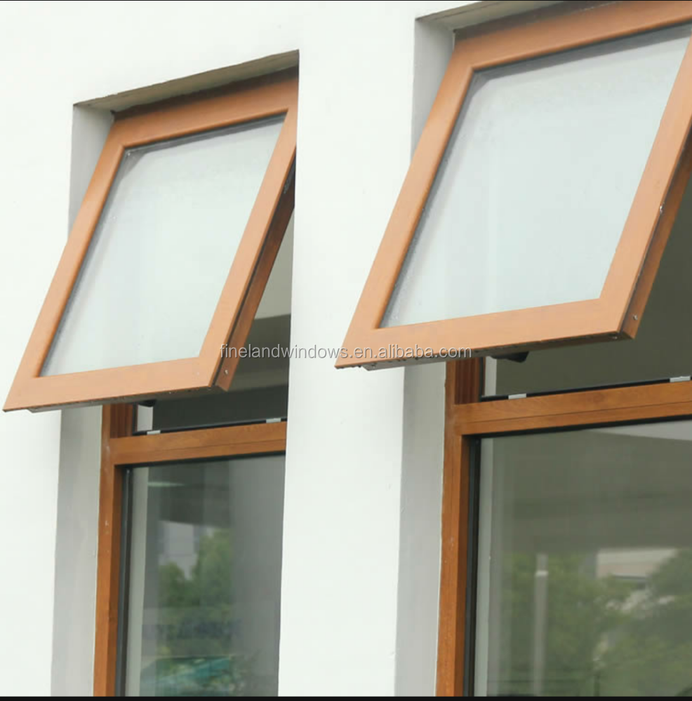CE certificate size customized brown color Tempered Glass Alum inum Profile Top Hung window