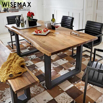 French Style Antique Design Natural Rectangular Solid Wood Top Metal Leg Dining Tables Table