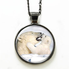 Polar Bear necklace, Mother kissed the child print Photo the Polar Bear family necklace