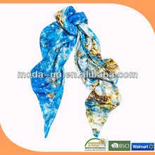 custom logo digital print silk scarf