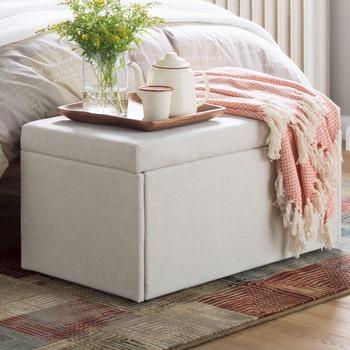 Bedroom Storage Bench Ottoman 2 Seater Cream Comfortable Fabric Footstool  Ottoman - Buy Round Footstool Ottoman Folding Footstool Ottoman,Fabric  Round ...