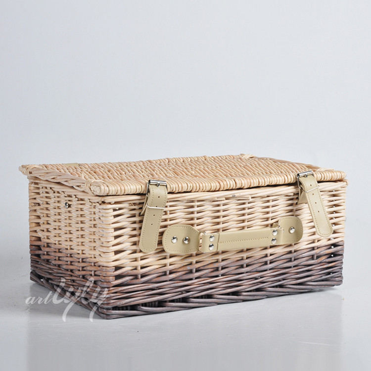 Stylish wicker basket for gift handmade crafts