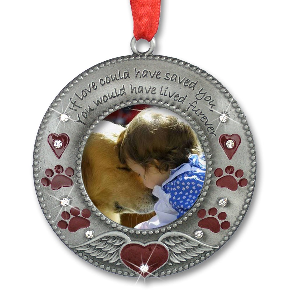 BANBERRY DESIGNS in Loving Memory Pet Ornament - Pet Memorial Christmas Photo Ornament - Furever in My Heart - Red Hearts with Angel Wings and Paw Prints - Pet Sympathy Gifts - Loss of a Pet