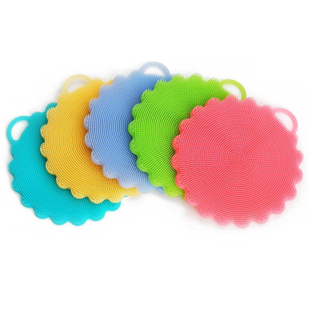 CieKen 5pcs Washing Brush, Silicone Dish Scrubber, Multifunction Kitchen Wash Tool, Soft Brush Scrubber Cleaning Cleaner, Washing Brush / Fruit Washer / Vegetable Cleaner and Heat-resistant
