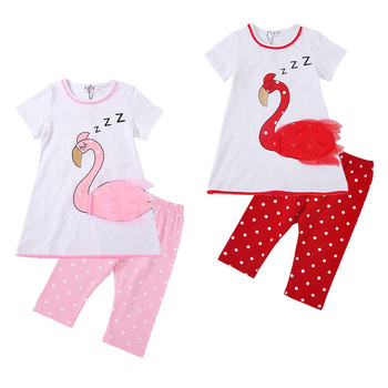 Cotton Spandex Hot Sale Swan Printing Round Neck T Shirt Polka Dots Pants Set Girl Tunic And Leggings