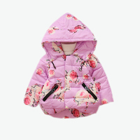 baby down jacket Children's clothing girls winter clothing children's thick coat cotton slim Slim rose flower cotton tide