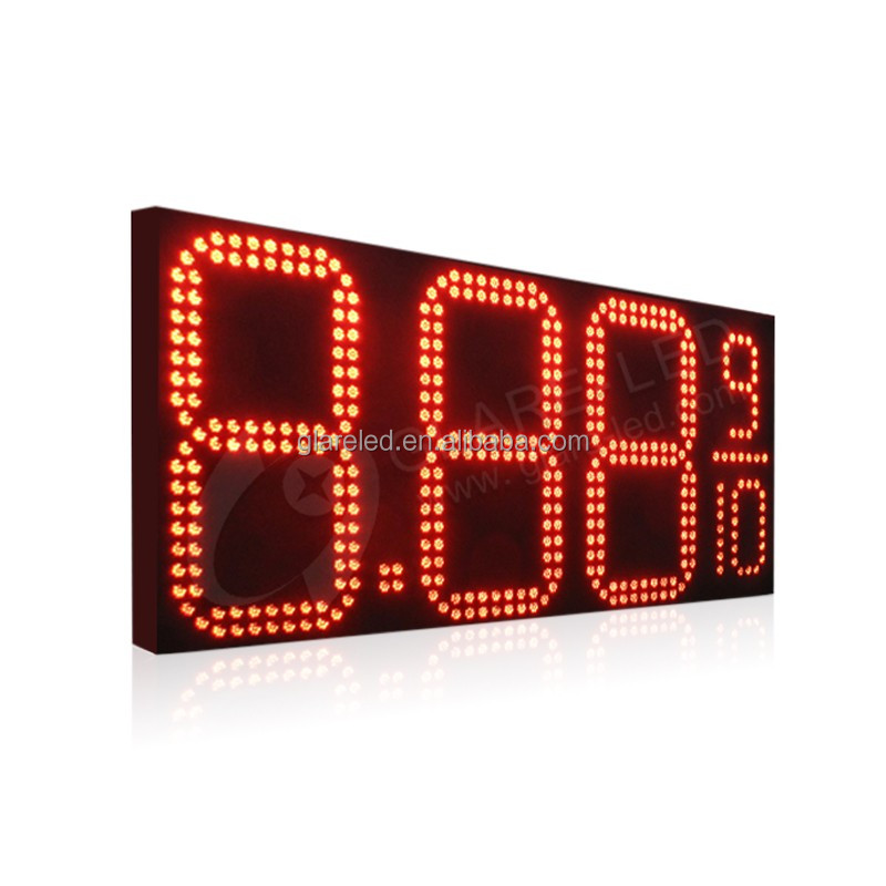 48 inch outdoor 8.889/10 4 digits outdoor gas station red fuel price led sign with vinyle printing