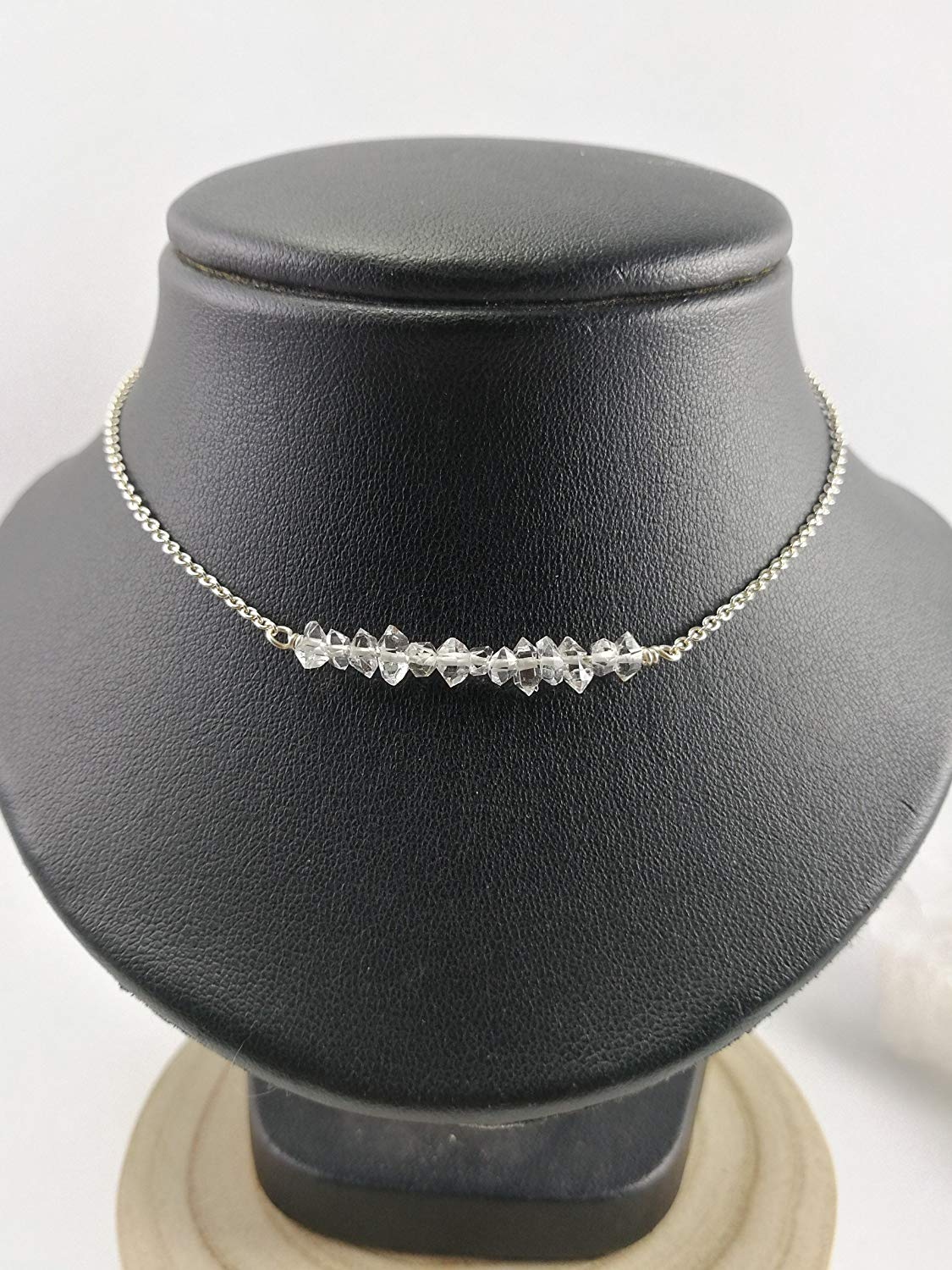 "925 Sterling Silver Herkimer diamond Necklace,925 sterling silver chain,Size 16"",HKN1"