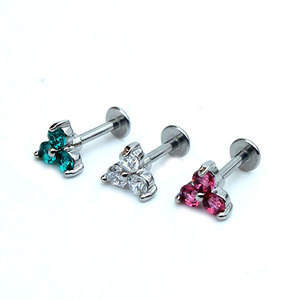 Body jewelry Rhinestone stainless steel new designed flower labret