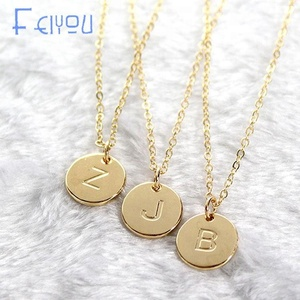 Silver Gold Color Coin 26 Letters Initial Pendant Necklace