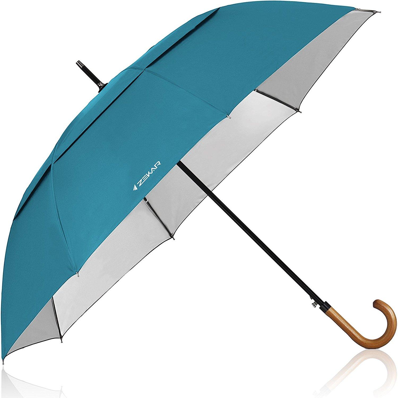 966d48812 Get Quotations · ZEKAR 54/60 inch Wooden J Handle Golf Umbrella, Classic /UV-Protection