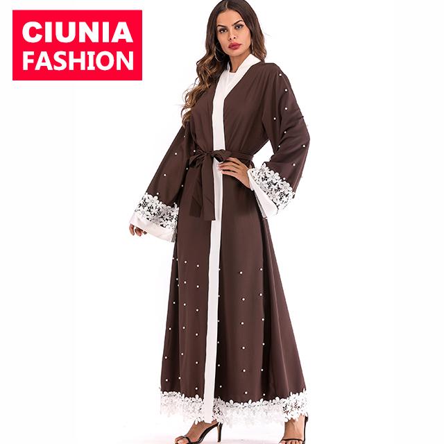 1638# 50% off Moroccan wholesale kaftan caftan coffee pearls kimono designs muslim Islamic clothing abaya 2018 dubai фото