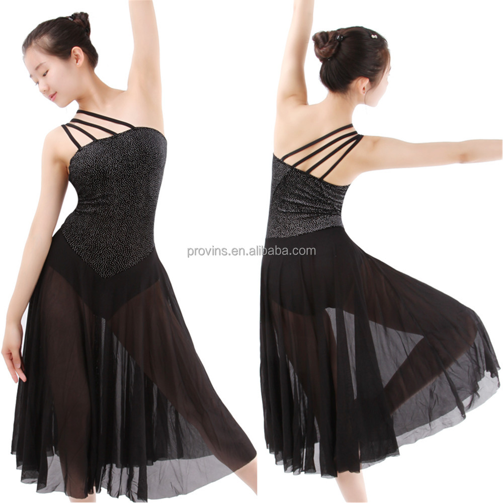 Adult Girls Black Shiny Top Long Latin Dance Performance Dress Girls
