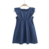 solid blue denim girl daily dress with flouncy sleeves, Summer jeans dress