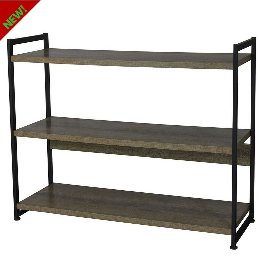 Get Quotations 3 Shelf Shelving Unit Wood With Metal Frame Organizer Bookcase Console Multipurpose Storage