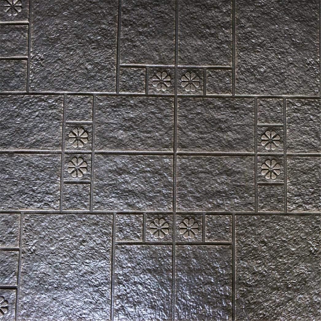 PE Foam 3D Wallpaper DIY Wall Stickers(27.5''x30.3''), Wall Decor Embossed Brick Stone