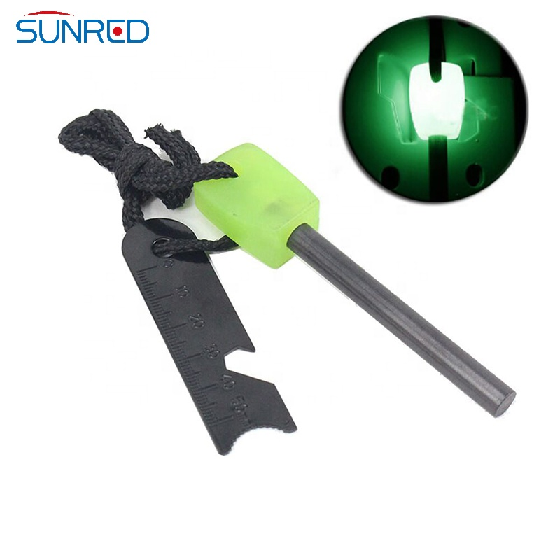 Survival bushcraft camp cooking ferrocerium rod green handle fire starter glow in the dark magnesium firesteel striker ferro rod