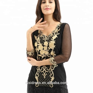 Fashion embroidery Muslim women's blouse of 2018 fall new style