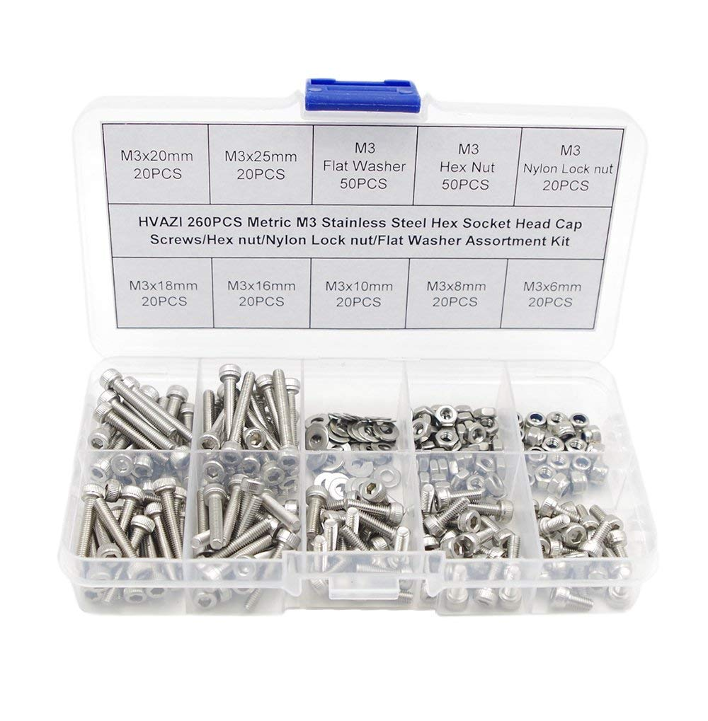 HVAZI Metric M3 Stainless Steel Socket Head Cap Screws/Hex Nuts/Nylon Lock nut/Flat Washer Assortment Kit