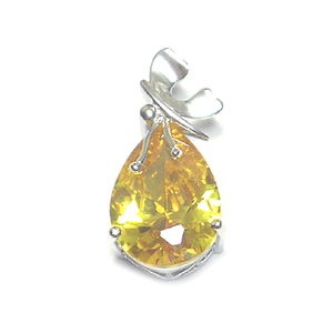 PCA-0935 silver 925 jewlery pendant with single one large yellow stone setting