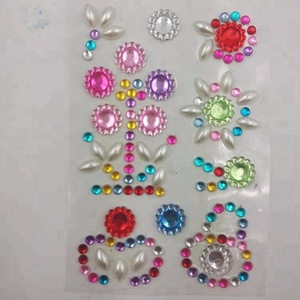 Customized fashion self adhesive sticker sheet decorative glitter round gem sticker factory wholesale