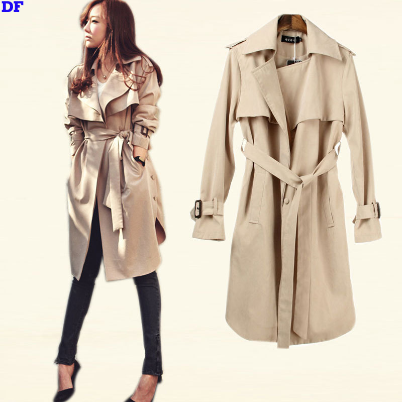 Spring Trench Coat For Women 2015 Fashion Women Raincoat With Belt Plus Size Slim Outwear Women