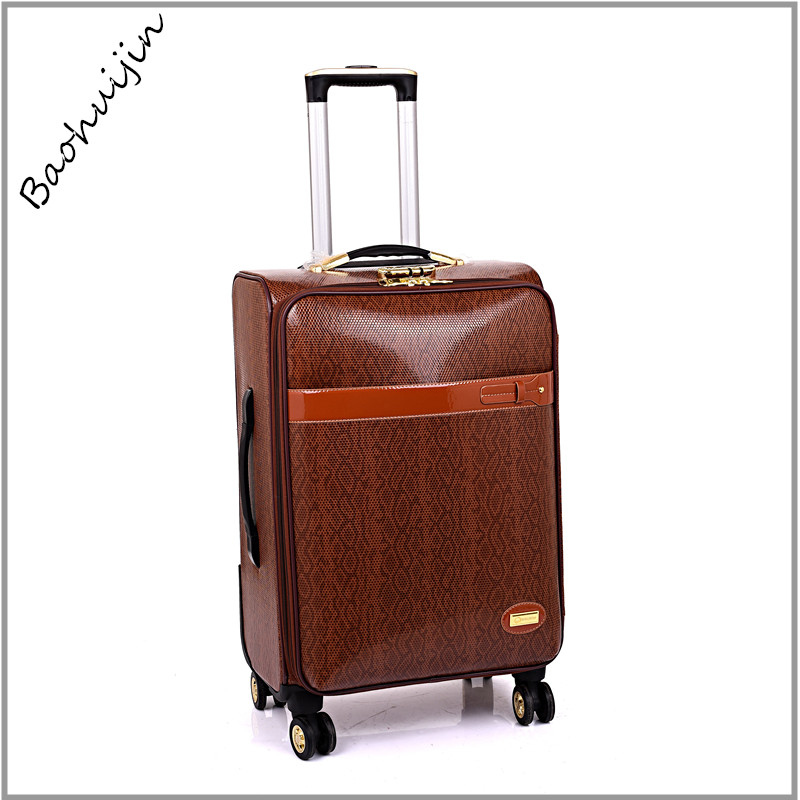 Alibaba china supplier noble leather material lightweight global traveling luggage