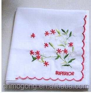 100%cotton printed white square Embroidered bandana handkerchief Scarf