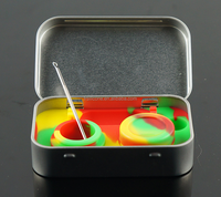 5ml 10ml silicone smoking oil tin box, 5ml silicone smoking oil container, 10ml silicone smoking wax/oil container