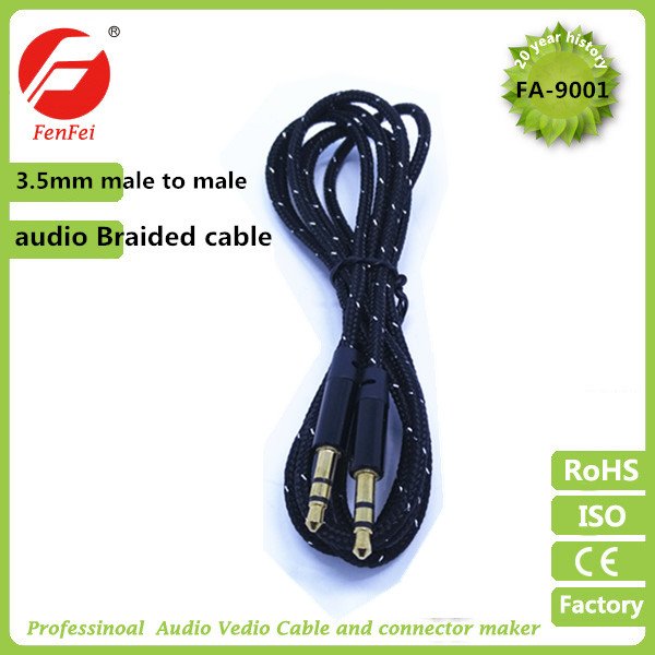 Super quality new nylon 3.5mm TRS male android tv box audio video cable