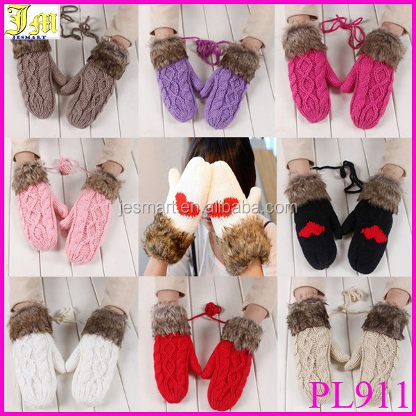 Lovely Women Double-Deck Wool Hang Neck Winter Mittens Knitted Warm Fur Gloves Cheap Wholesale