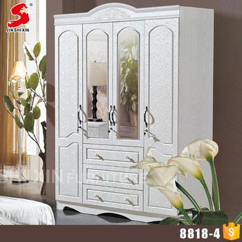 4 Doors Bedroom Wood Wardrobe Closet Cabinets With Mirror And Drawers - Buy  Closet Cabinets,Wardrobe Cabinets With Mirror,4 Doors Bedroom Closet Wood  ...