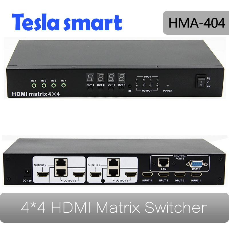 Professional Four Port HDMI Matrix 4x8 Over Cat5e 60m