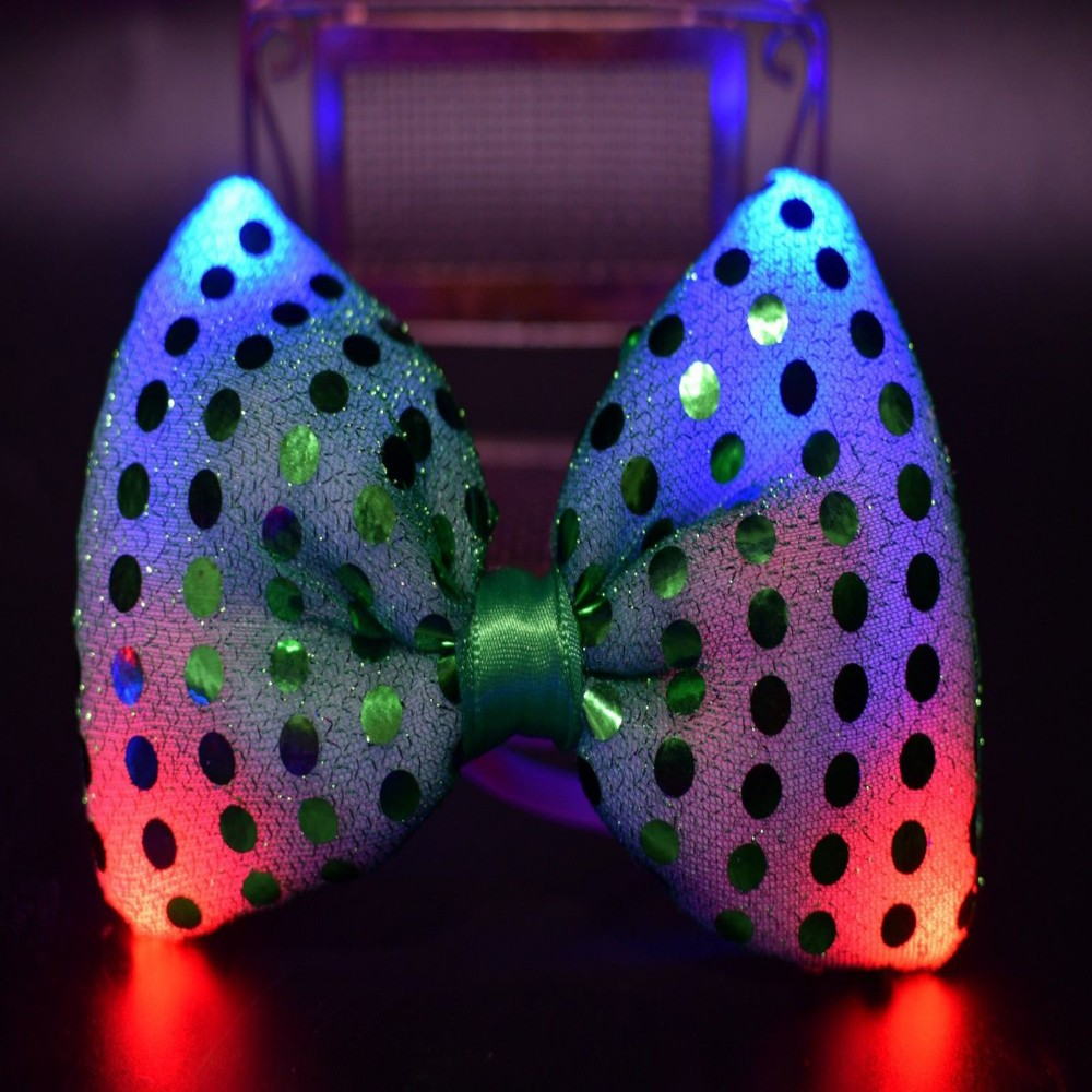 Flashing Light Up Bow Tie Necktie LED Mens Party Decor Lights Sequins Bowtie
