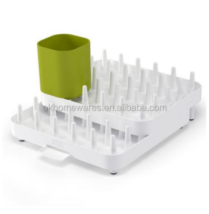 Extend Expandable Dish Drying Rack and Drainboard Set Foldaway Integrated Spout Drainer Removable Steel Rack and Cutlery Holder