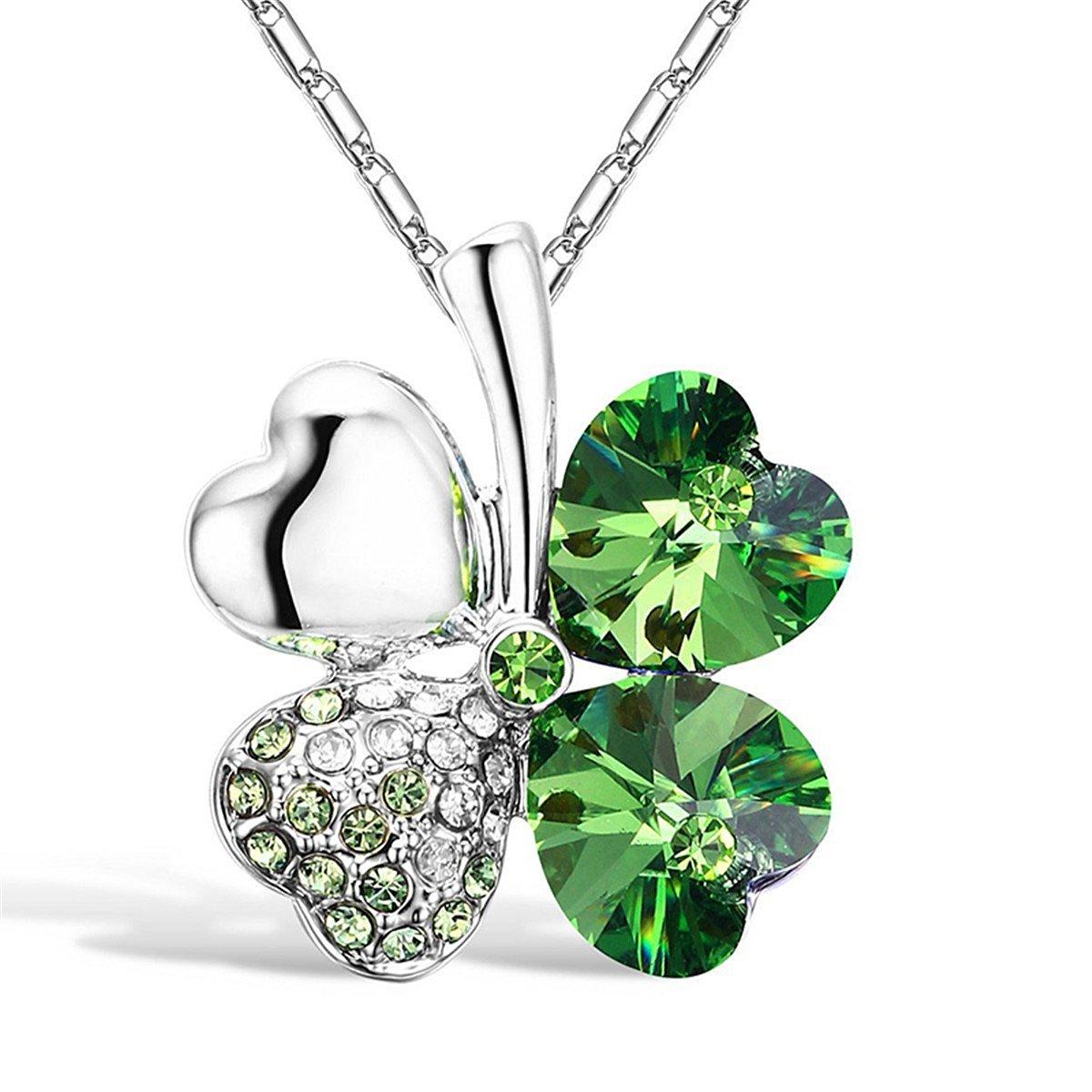 Coco*store Four Leaf Versilbert Strass Kristall Clover Statement Kette Anhänger Halskette*1