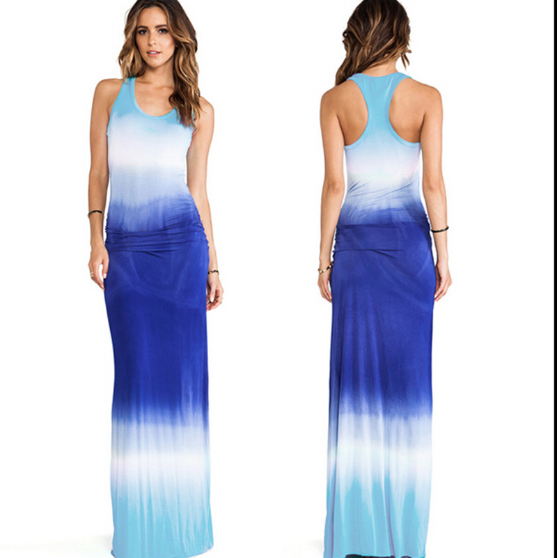 Tie Dye Dress 2015 New Womens Sexy Maxi Dresses Summer Plus Size Blue White Dress Cotton robe longue femme Casual Tie Dye Dress