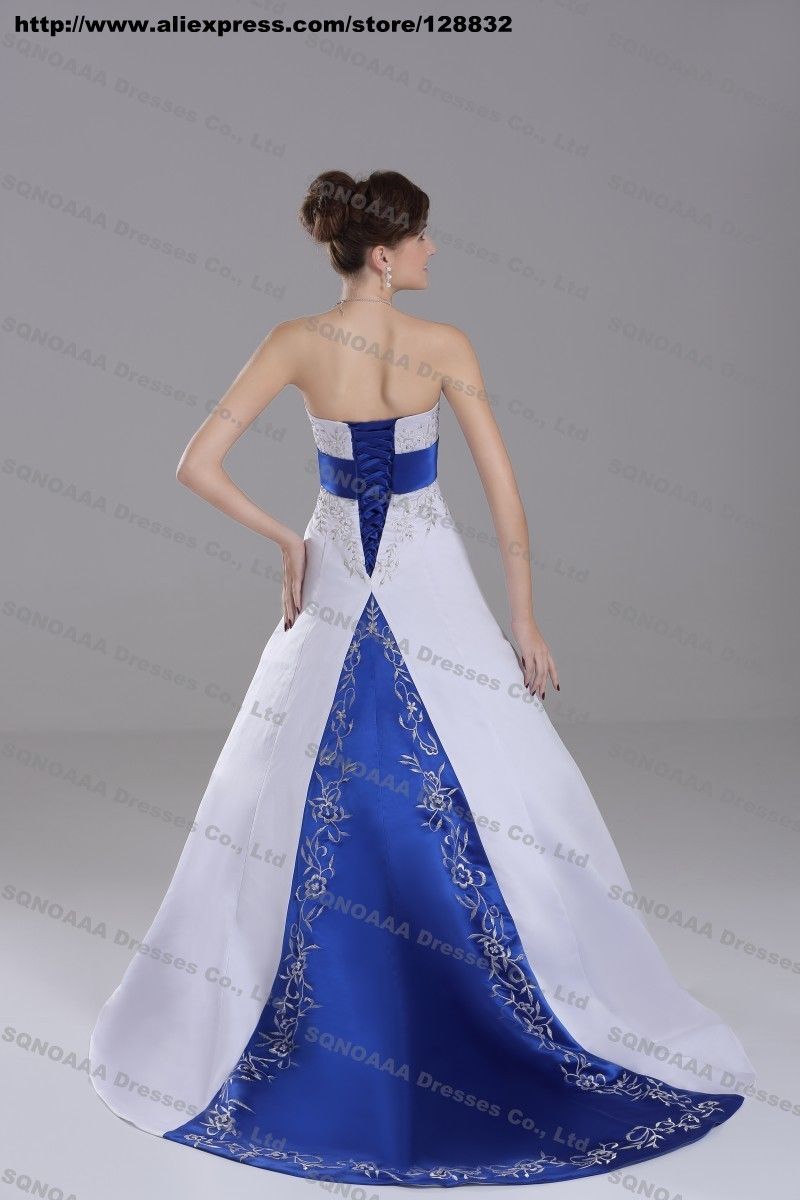 Discount Silver Embroidery White Royal Blue Stain A-line ...