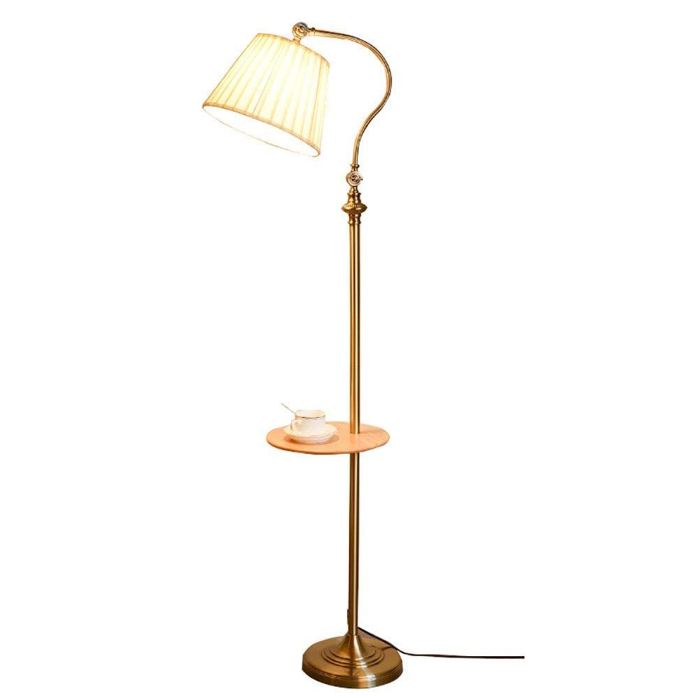 Floor Lamp European Retro Living Room Bedroom Sofa Coffee Table Lamp Simple Creative Study Eye Protection Vertical Table Lamp (Color : Bronze)