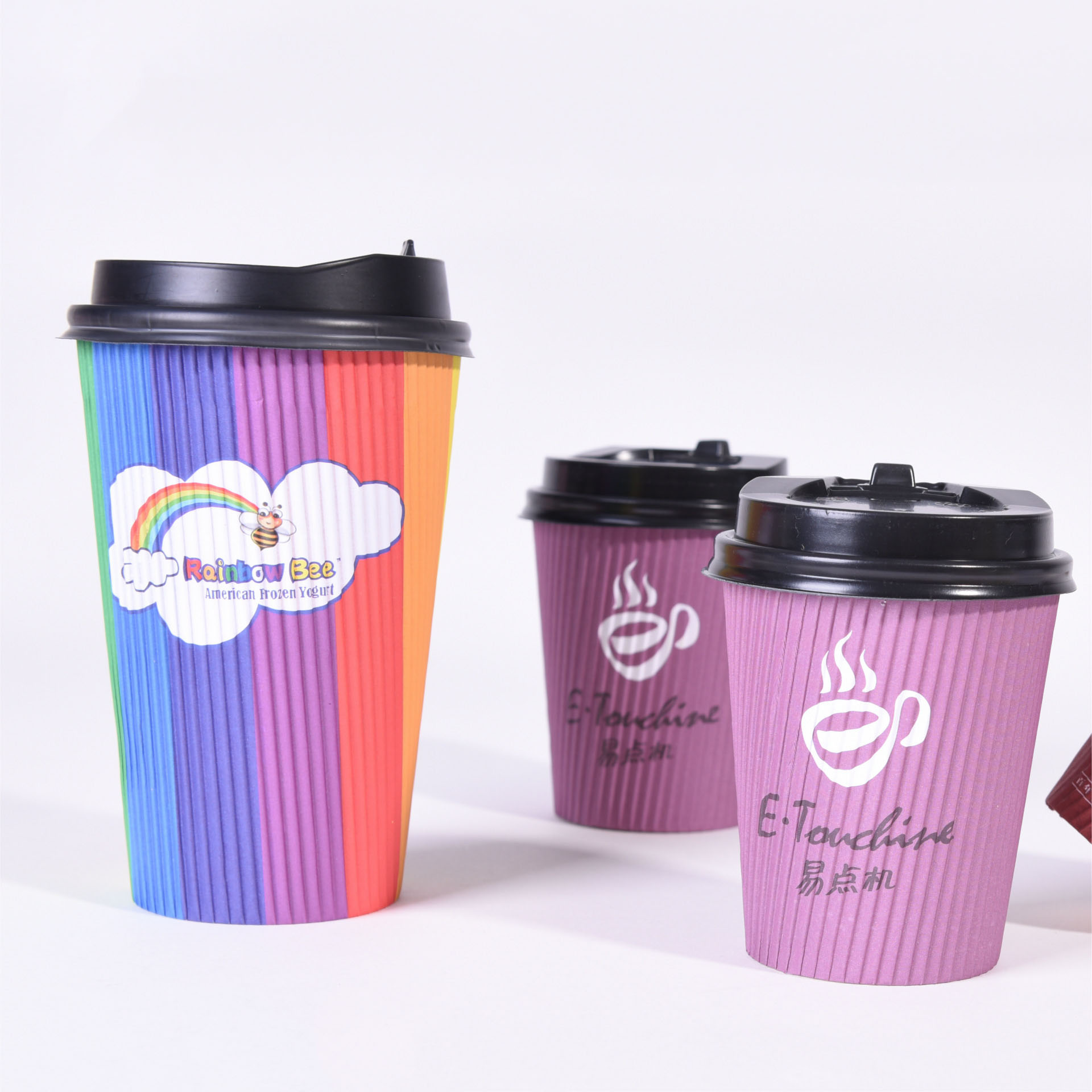 Wholesale Recyclable 8 oz ripple wall Party Paper Custom Reusable Coffee Biodegradable 4oz Pla Embossed Tea Cup