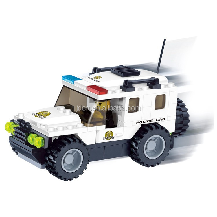 WANGE overstock toys plastic small police car building blocks toys