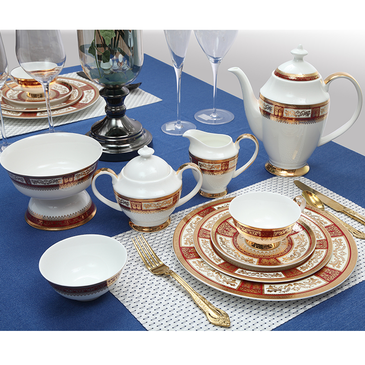 P&T Royal Porcelain table Ware colorful decal ceramic teapots bone china coffee pots dinner set porcelain teapots