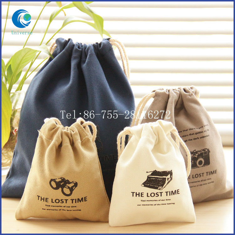 Durable drawstring mini canvas gift bags with printed logo